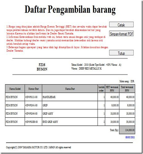 harga stang byson