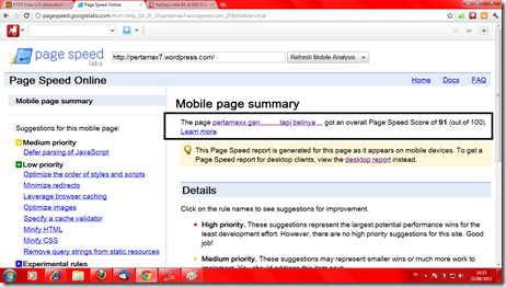 pagespeed mobile