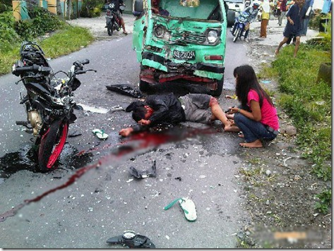 kecelakaan motor satria FU