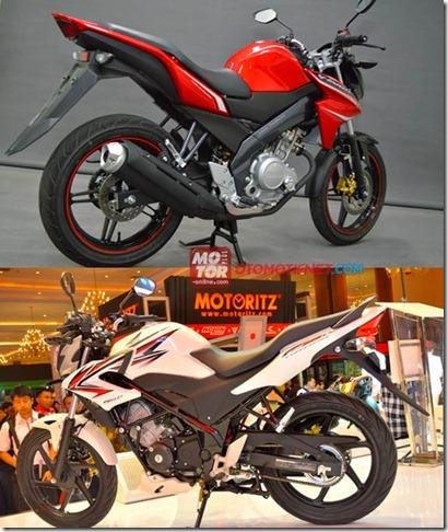 honda cb150r vs yamaha new vixion belakang