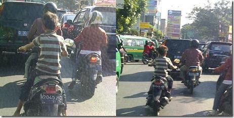 anak kecil naik motor