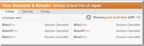 free practice 1 and 2 motogp japan 2013 cancelled