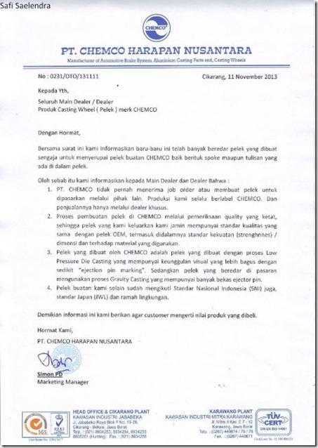pernyataan resmi chemco