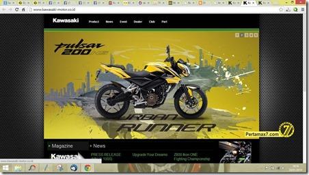 website kawasaki motor indonesia tampilkan bajaj pulsar 200ns