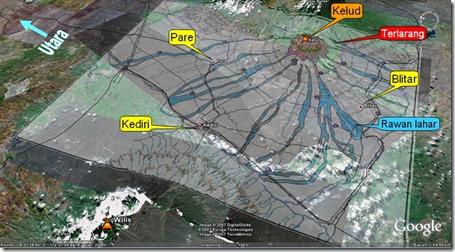 peta daerah bencana gunung kelud
