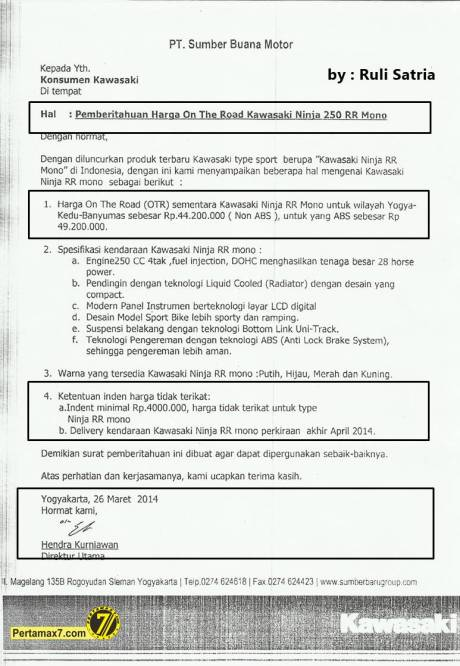 harga kawasaki ninja 250rr Mono di Yogyakarta
