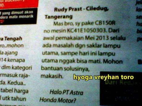 lampu depan Honda CB150R tidak dapat dimatikan