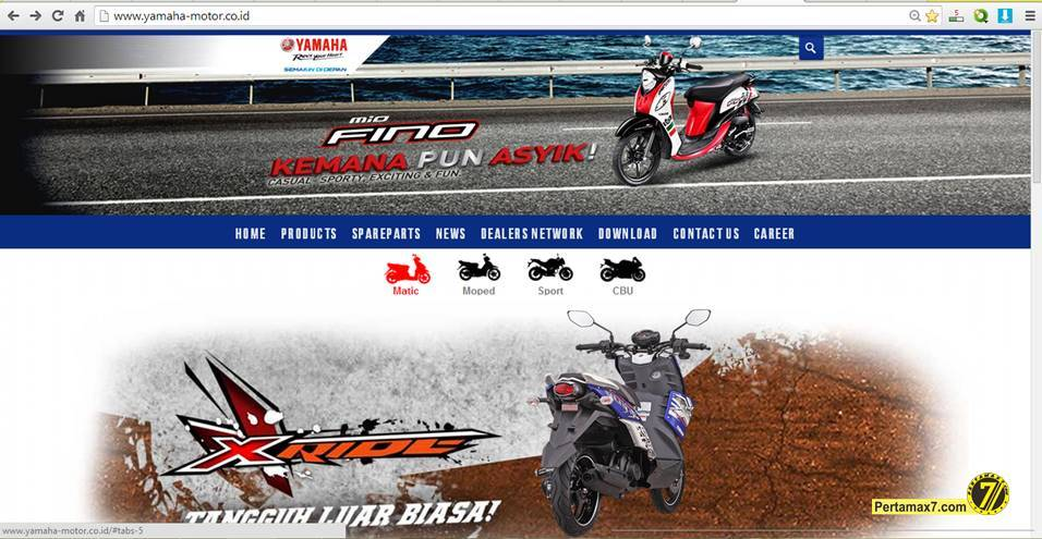 tampilan baru website yamaha