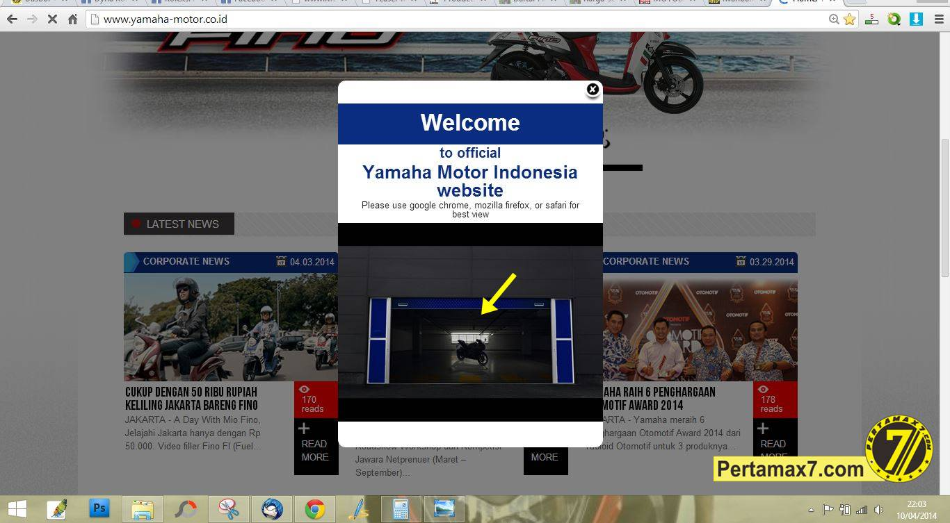 yamaha R15 di website yamaha Indoensia