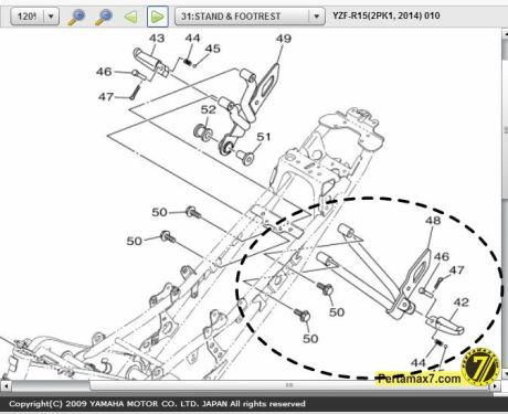 braket footpeg yamaha R15 model baut