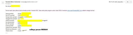 email konfirmasi indent online yamaha YZF-R25 biru