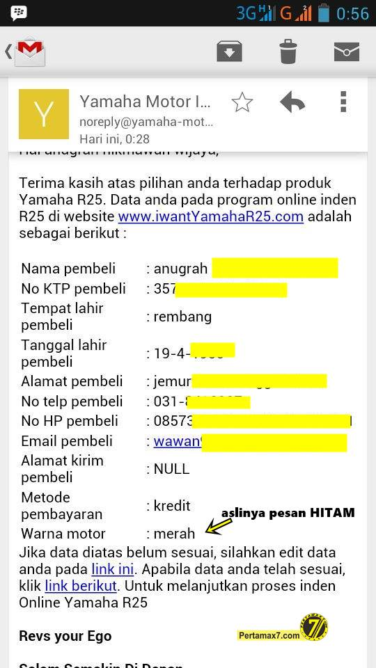 email konfirmasi indent online yamaha YZF-R25 merah