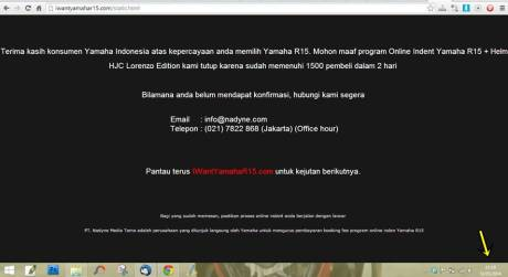 indent online yamaha YZF-R15 resmi ditutup