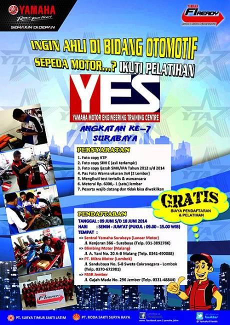 Pelatihan Otomotif Sepeda Motor Gratis dari Yamaha  POSTER A3