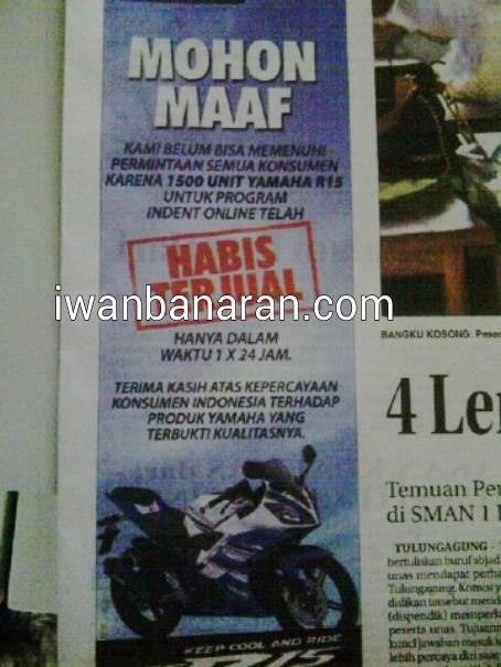 permintaan maaf Yamaha untuk pengindent yamaha R15 di koran