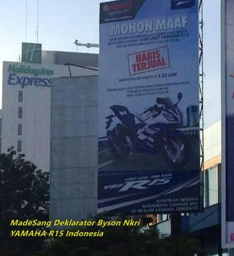 permintaan maaf Yamaha untuk pengindent yamaha R15