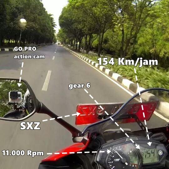 Topspeed yamaha YZF-R22 tembus 154 Km jam di gear 6 pada 11.000 Rpm