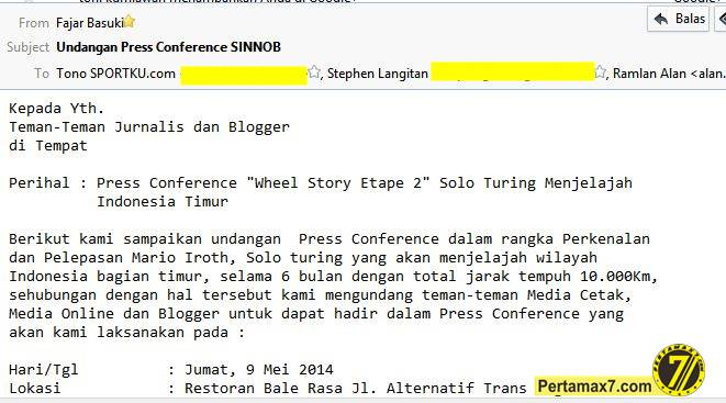 undangan press conference sinnob melepas Mario Iroth ke indonesia Timur