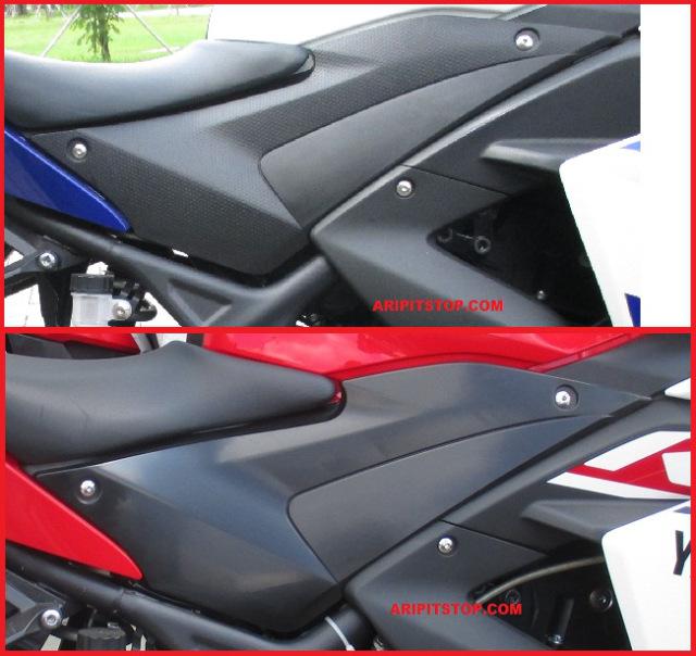 perbedaan body samping yamaha R25 biru vs merah