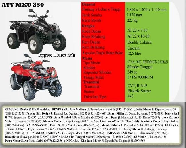 spesifikasi atv kymco mxu 250