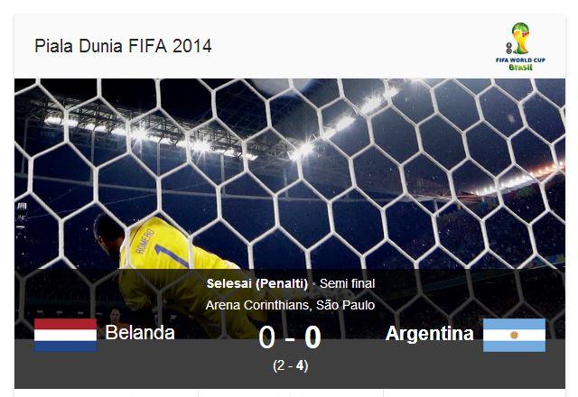belanda vs argentina semifinal piala dunia 2014