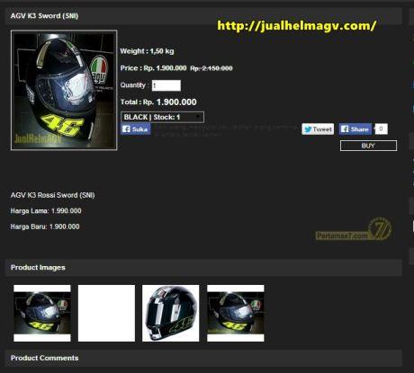 Harga Helm AGV K3 SWORD Valentino Rossi Indonesia