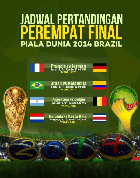 jadwal pertandingan perempat final piala dunia 2014
