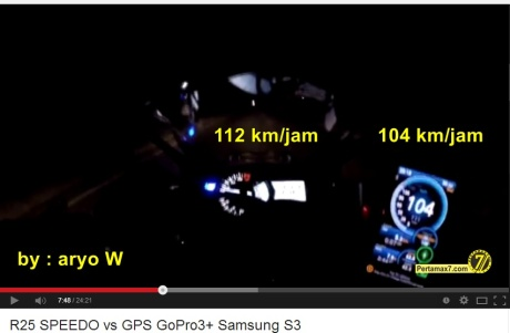 komparasi speedometer yamaha R25 VS GPS