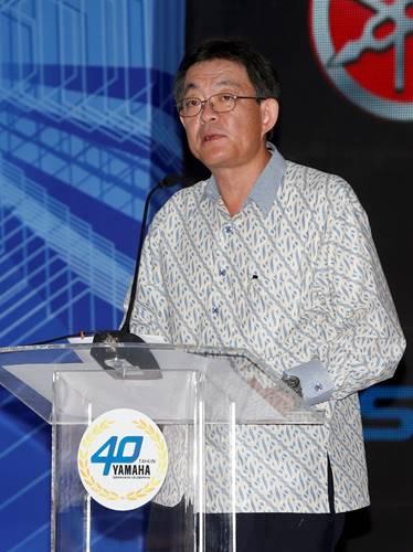 Presiden Direktur Yamaha Indonesia Yoichiro Kojima memberikan speech dalam perayaan 40 Tahun Yamaha Indonesia dan R25 Global Model Production