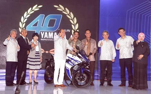 President and CEO Yamaha Motor Company Japan Hiroyuki Yanagi dan Presiden Direktur Yamaha Indonesia Yoichiro Kojima beserta para pejabat pemerintah kementerian Indonesia