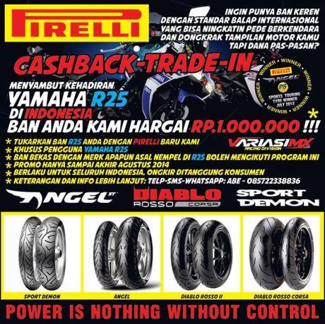 program trade in ban Yamaha R25 ganti Pirelli