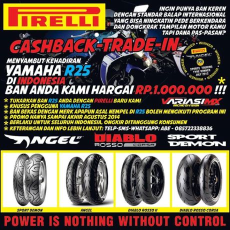 program trade in ban Yamaha R25 ganti Pirelli