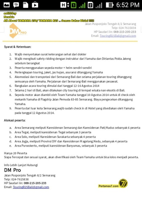 rules Touring Yamaha R25 Jawa Bali