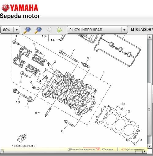 head cylinder yamaha MT-09