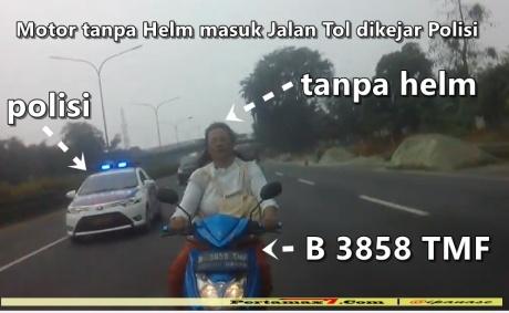 Ibu-ibu naik Motor tanpa Helm masuk Jalan Tol dikejar Polisi