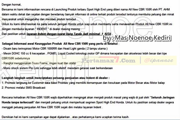 launching CBR150R lokal Indonesia va email