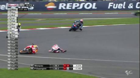 marc marquez crash Fp3 silverstone 2014