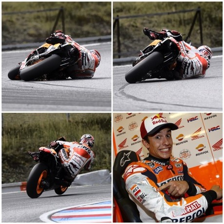 marc marquez near miss 68 degree on brno test 2015