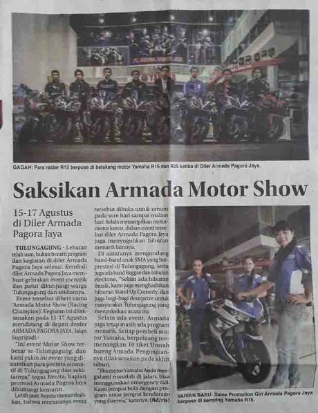 saksikan armada motor show tulungagung 15 sampai 17 Agustus 2014