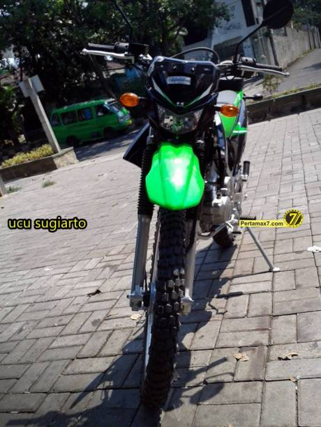 Kawasaki KLX150L jatuh stang bengkok segitiga rusak 6