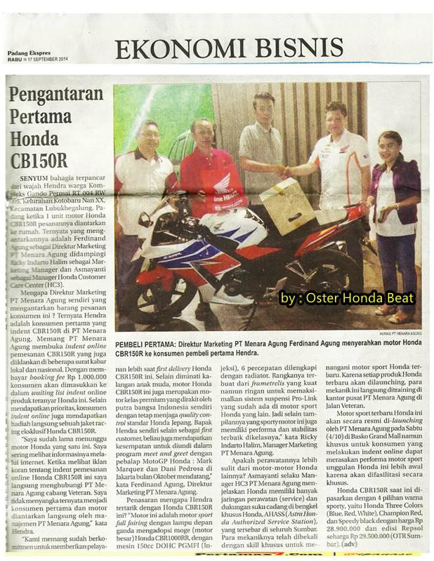 pemilik pertama honda all new CBR150R lokal di Sumatera barat
