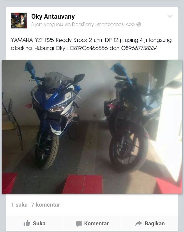 upping price yamaha R25