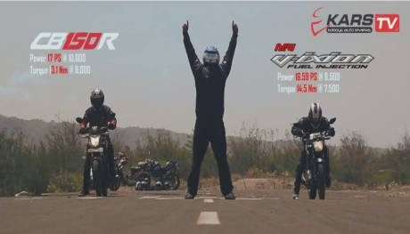 adu drag honda CB150R vs yamaha new vixion lightning by kart tv pertamax7.com