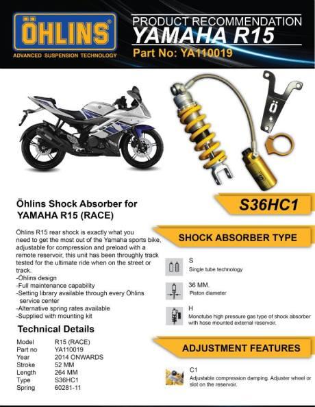 ohlins for yamaha R15 brocure