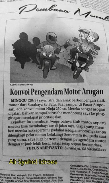 surat pembaca konvoi pengendara motor arogan