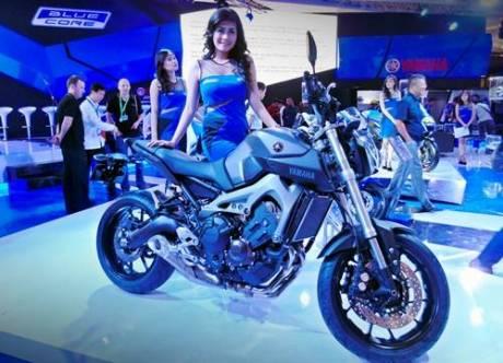 Yamaha MT-09 di Indonesia Motorcycle Show. Motor ini akan diluncurkan di Indonesia tahun 2015