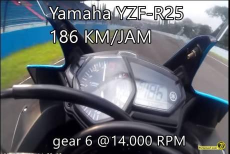 Yamaha YZF-R25 ini Tembus 186 Km.jam di Sentul