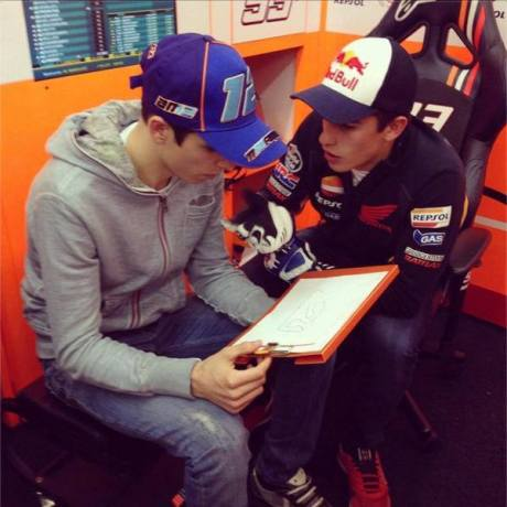Alex marquez with Marc Marquez test Honda RC213V Valencia 2014 6