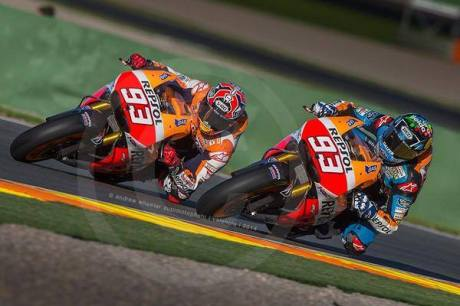 Alex marquez with Marc Marquez test Honda RC213V Valencia 2014 7