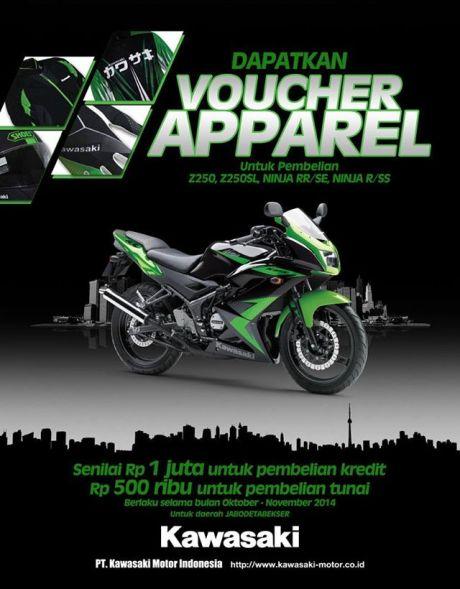 beli kawasai Z250 dan Ninja 2t berhadiah voucher apparel hingga rp. 1juta